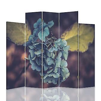 Dekorativa rumsavdelare, 5 paneler, dubbelsidig, canvas, turkos blomma