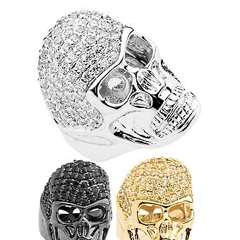 Iced Out Bling Micro Pave Ring - 3D SKULL Zirkonia