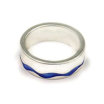 Sterling Argent traditionnel écossais tout simplement élégant Bleu Enamel Hand Crafted Design Ring