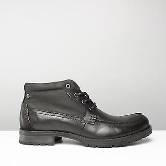 Jack & Jones Jfwforest Mid Mens Leather Lace Up Mid Top Boots Anthracite