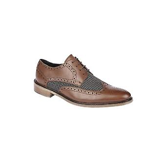 Roamers Fabian Mens Leather Houndstooth Brogue Shoes Brown/grey