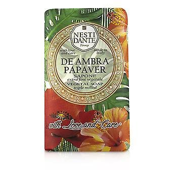 Jabón Vegetal Triple Milled Nesti Dante con Amor y Cuidado - De Ambra Papaver 250g/8.8oz