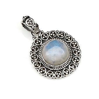 Amuleto de caneta corrente prata 925 Sterling Silver Rainbow Moonstone White Stone (Não: MAH 104-04)