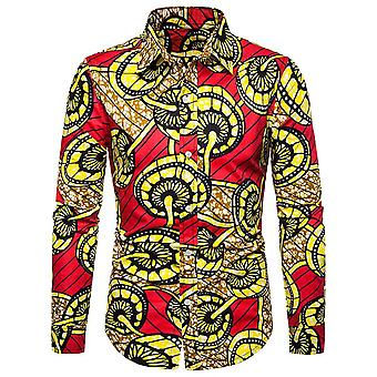 Allthemen Men's Lapel Printed Long Sleeve Shirt
