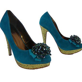 Rascal Glitter Heel Bead Corsage Shoes