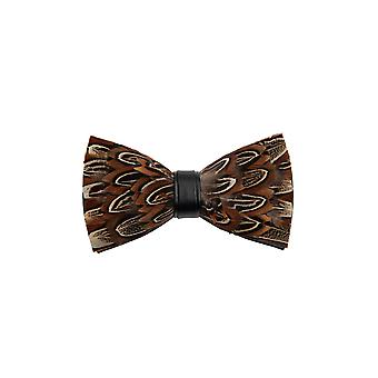 Dobell Mens Brown Feather Pre-Tied Bow Tie & Lapel Pin Set