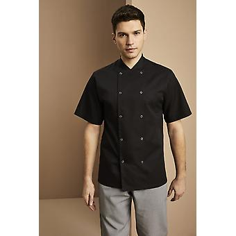 SIMON JERSEY Men's Essentials Short Sleeve Popper Chef's Jacket, Black