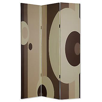 Panza Print 3 panou cameră separator cu cerc design, bej și maro