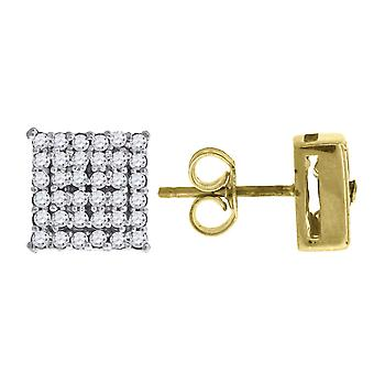 10k Two tone Gold Mens Cubic Zirconia CZ Square Stud Earrings Measures 10.3x10.30mm Wide Jewelry Gifts for Men