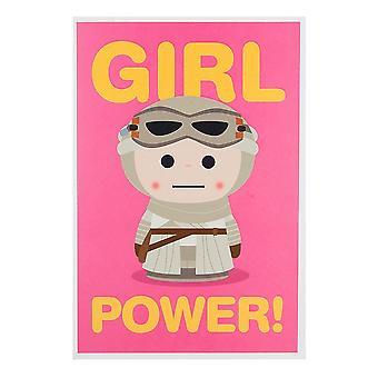 """Hallmark Star Wars Rey """"girl Power"""" 14 X 20cm Blank Card 25480708"""