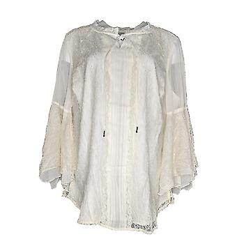 Isaac Mizrahi Live! Women's Plus Top Chantilly Lace Tie Ivory A343209