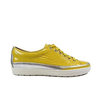 Caprice 23654 Lemon Yellow Patent Leather Womens Lace Up Casual Trainers