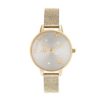 Olivia Burton Watches Ob16pq06 Pearly Queen Gold Sunray Dial And Gold Boucle Mesh Ladies Watch