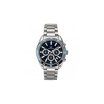 Accurist Men Round Blue 100M Date Chronograph Dial Stainless Steel Bracelet Watch
