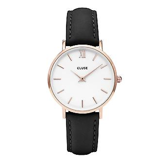 Cluse Watches Cw0101203020 Minuit Rose Gold White And Black Leather Ladies Watch