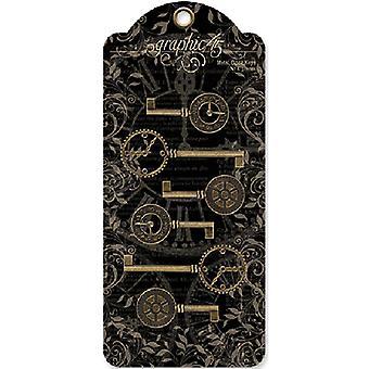 Graphique 45 Staples Metal Clock Keys 6/Pkg - Antique Brass 2-quot;X1-quot; To 3-quot;X1.125-quot;