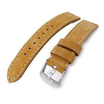 Strapcode leather watch strap 20mm, 21mm miltat camel brown nubuck leather watch band, beige stitching