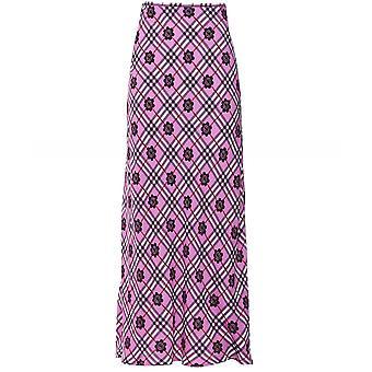 RIXO Kelly Silk Check Floral Skirt