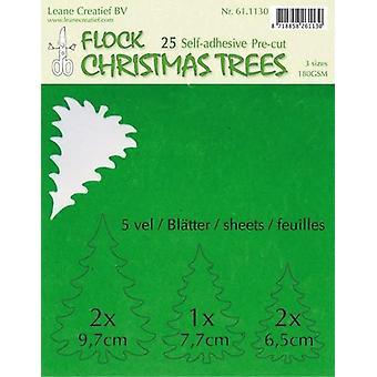 LeCrea - Flock paper Xmas trees green 25 pre-cut & adhesive 61.1130