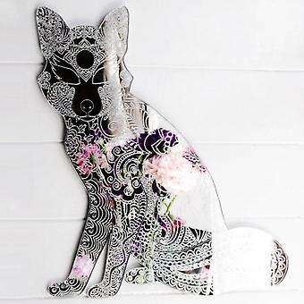 Mandala incisa seduta Fox specchio acrilico