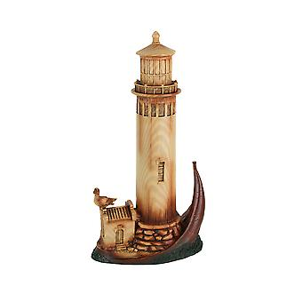 Wood Grain Finish Coastal Lighthouse Tabletop Decorative Statue