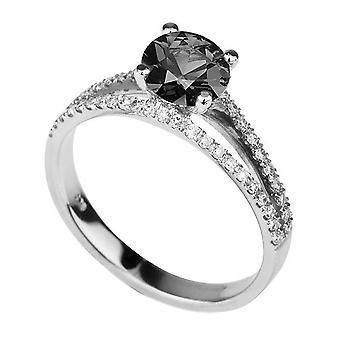 1,86 CTW Black Diamond Ring 14K valkokulta Split varsi Solitaire aksentti Vintage