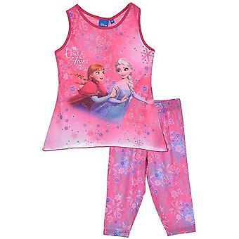 Mädchen Disney eingefroren ärmelloses T-shirt / Top & 3/4 Leggings Satz