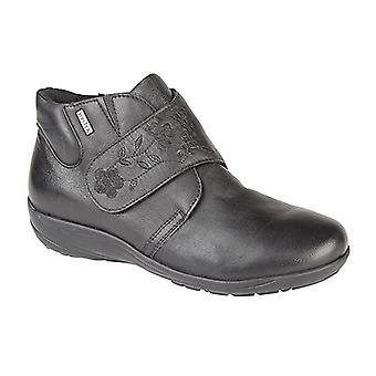 Mod Comfys Womens/Ladies Floral Detail Touch Fastening Dual Fitting Leather Ankle Boots