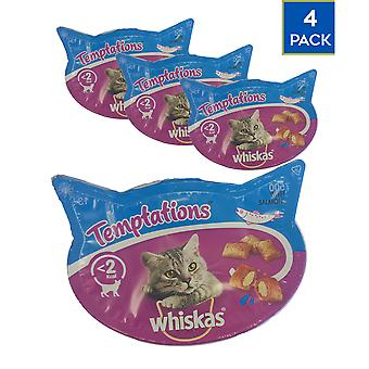 4 Pack 60gTemptations Saumon Cat Healthy Treats Soft Freshness Delicious Flavour