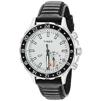 Timex Mens IQ+ Move Multi-Time Black/White Leather Strap Watch TW2R39500