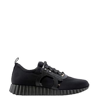 Salvatore Ferragamo 0736724 Kvinnor's Svarta Nylon Sneakers