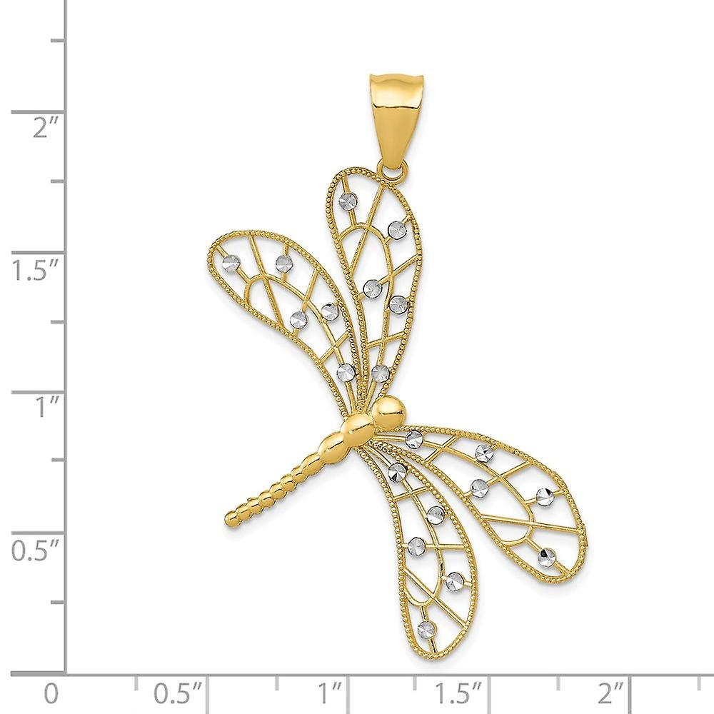 14k Two Tone Gold Polished Sparkle Cut Filigree Dragonfly Pendant Necklace Jewelry Gifts for Women