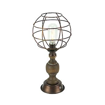 Oil Rubbed Bronze Finish Metal Cage Battery Powered LED Accent Lamp with Edison Light Bulb