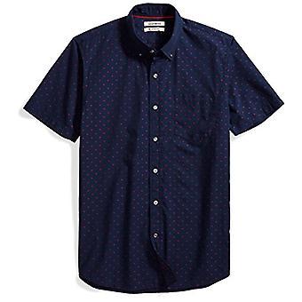 Goodthreads Men's Slim-Fit Kortärmad Dobby Shirt, Marinblå/Röd, XX-Large