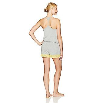 Brand - Mae Women's Sleepwear Tank Romper Pajamas, Heather Grey, Large
