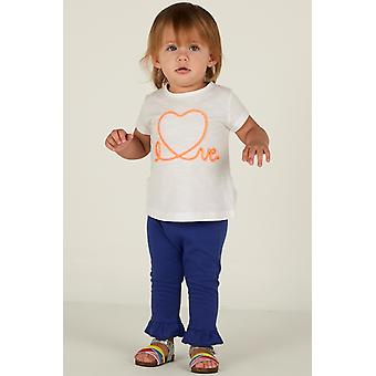Mamino  Baby  Girl  Love  Blue Ruffle Pant and White Tee Shirt 2 Pieces Set