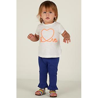 Mamino Baby Girl Love Blue Ruffle Pant e White Tee Shirt 2 Peças Set