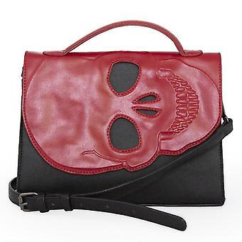 Banned - tenebris - skull embossed red black gothic shoulder bag