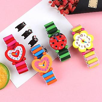 3pcs Lot Wooden Wristwatches Nice Cartoon Crafts Bracelet Watches Handicrafts-