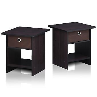 Furinno 2-10004DWN End Table/ Night Stand Storage Shelf with Bin Drawer, Dark Walnut, Set of two