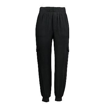 Anybody Women's Pants (XXL) Knit Cargo Jogger W/ Pockets Black A310051