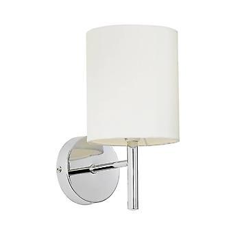 1 Ljus Inomhus vägg ljus Krom, Off White Faux Silk, E14