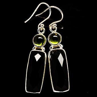 """Black Onyx, Peridot Earrings 1 3/4"""" (925 Sterling Silver)  - Handmade Boho Vintage Jewelry EARR405858"""