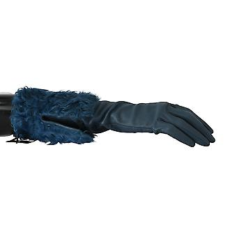 Dolce & Gabbana Blue Mid Arm Leather Shearling Fur Gloves
