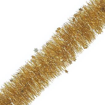 2m x 10cm Gold Die Cut Star Tinsel Christmas Tree Decoration