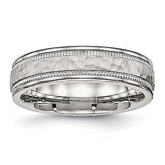 Acero inoxidable pulido martillado y acanalado 6,00 mm banda anillo - tamaño del anillo: 6 a 13