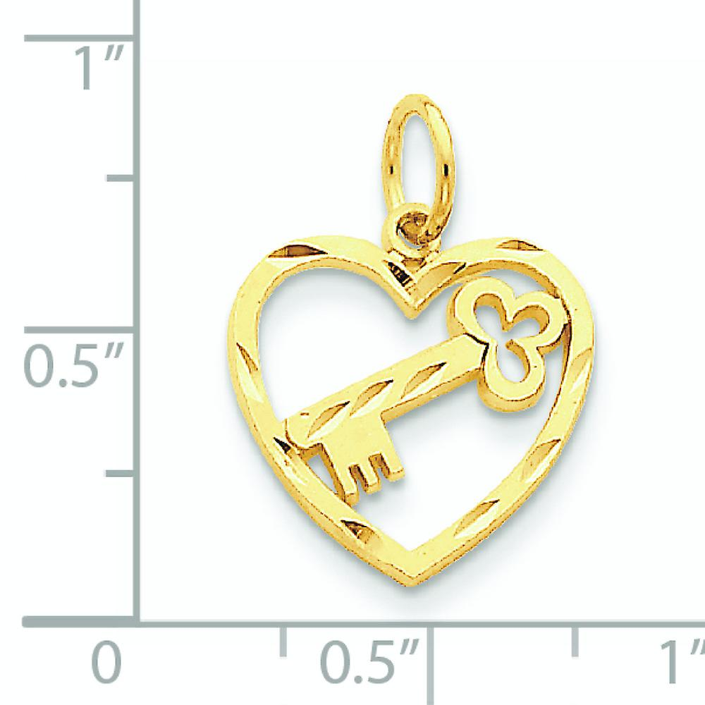 14k Yellow Gold Satin Polished Open back Sparkle Cut Textured back Love Heart and Key Charm Pendant Necklace Measures 21