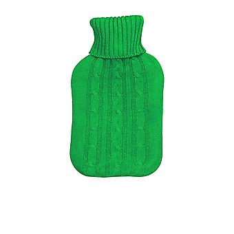 Full Size Hot Water Bottle With Knitted Cover - Green
