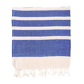 Nicola Spring 100% Turkse katoenen handdoek | Beach Bath Gym Sauna | Hammam Peshtemal Fouta Style Throw Sheet - Navy Stripe
