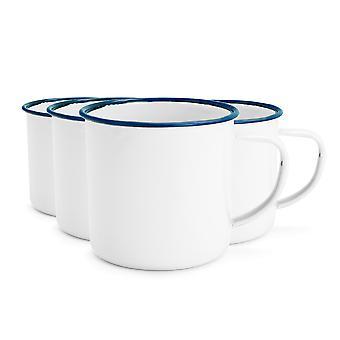 Rink Drink White Émail Tea / Coffee Mugs - 350ml - Blue Trim - Pack de 4